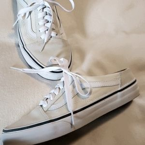 Van's mule style cream and white